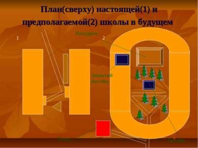 План(сверху) настоящей(1) и предполагаемой(2) школы в будущем Ипподром Бассей...