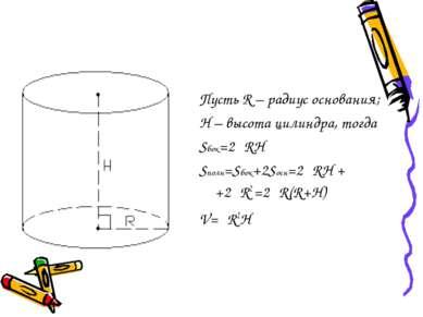 Пусть R – радиус основания; H – высота цилиндра, тогда Sбок=2πRH Sполн=Sбок+2...