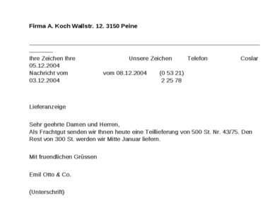 Firma A. Koch Wallstr. 12. 3150 Peine _______________________________________...