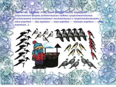 Посчитай, сколько птиц Ваня увидел около кормушки (образование формы родитель...