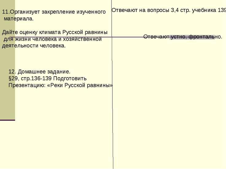 11.Организует закрепление изученного материала. Дайте оценку климата Русской ...