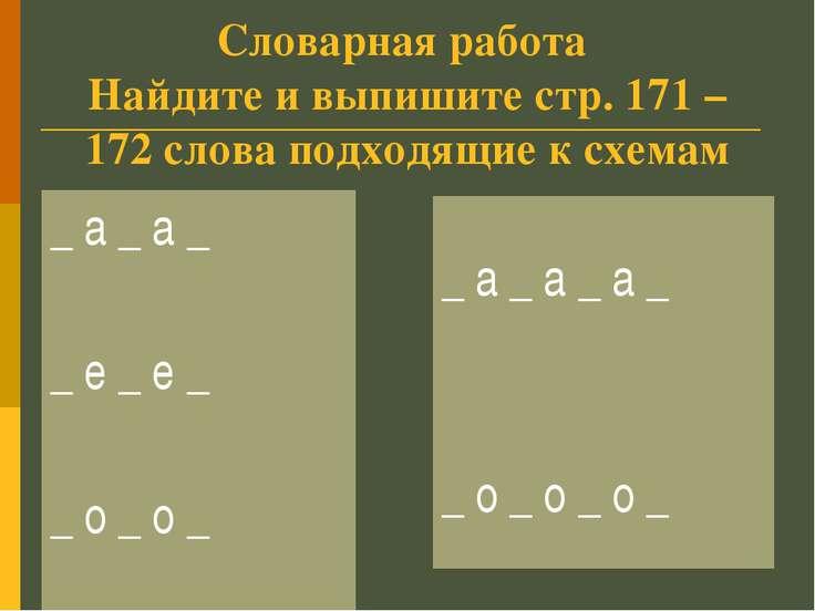 Словарная работа Найдите и выпишите стр. 171 – 172 слова подходящие к схемам ...
