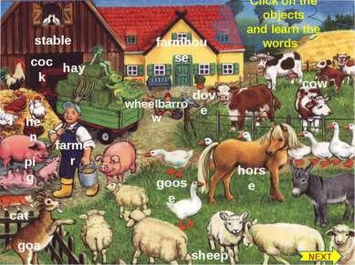 stable cock hen pig farmer cat goat goose wheelbarrow dove farmhouse cow shee...