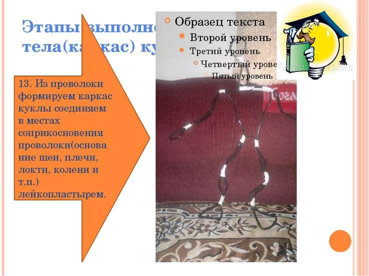 Этапы выполнения тела(каркас) куклы 13. Из проволоки формируем каркас куклы с...