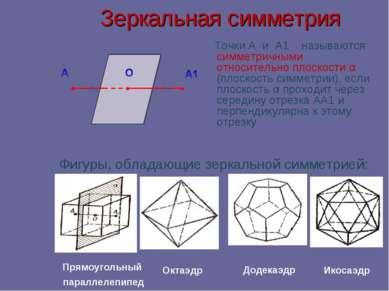 Зеркальная симметрия Точки А и А1 называются симметричными относительно плоск...