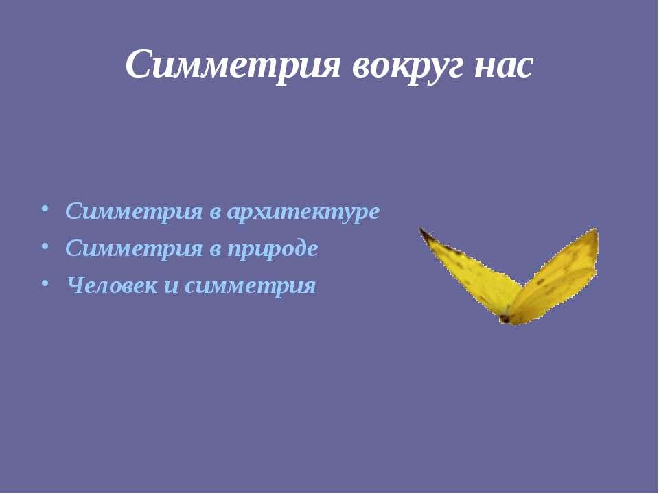 Симметрия вокруг нас Симметрия в архитектуре Симметрия в природе Человек и си...