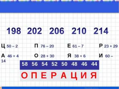 Ц 50 – 2 П 76 – 20 Е 61 – 7 Р 23 + 29 А 46 + 4 О 28 + 30 Я 38 + 6 И 60 – 14 5...