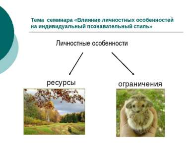 Тема семинара «Влияние личностных особенностей на индивидуальный познавательн...