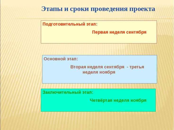 Этапы и сроки проведения проекта Подготовительный этап: Первая неделя сентябр...