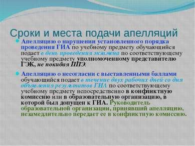 Сроки и места подачи апелляций Апелляцию о нарушении установленного порядка п...