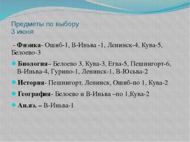 Предметы по выбору 3 июня - Физика- Ошиб-1, В-Иньва -1, Ленинск-4, Кува-5, Бе...