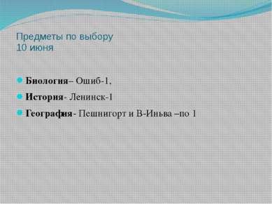 Предметы по выбору 10 июня Биология– Ошиб-1, История- Ленинск-1 География- Пе...
