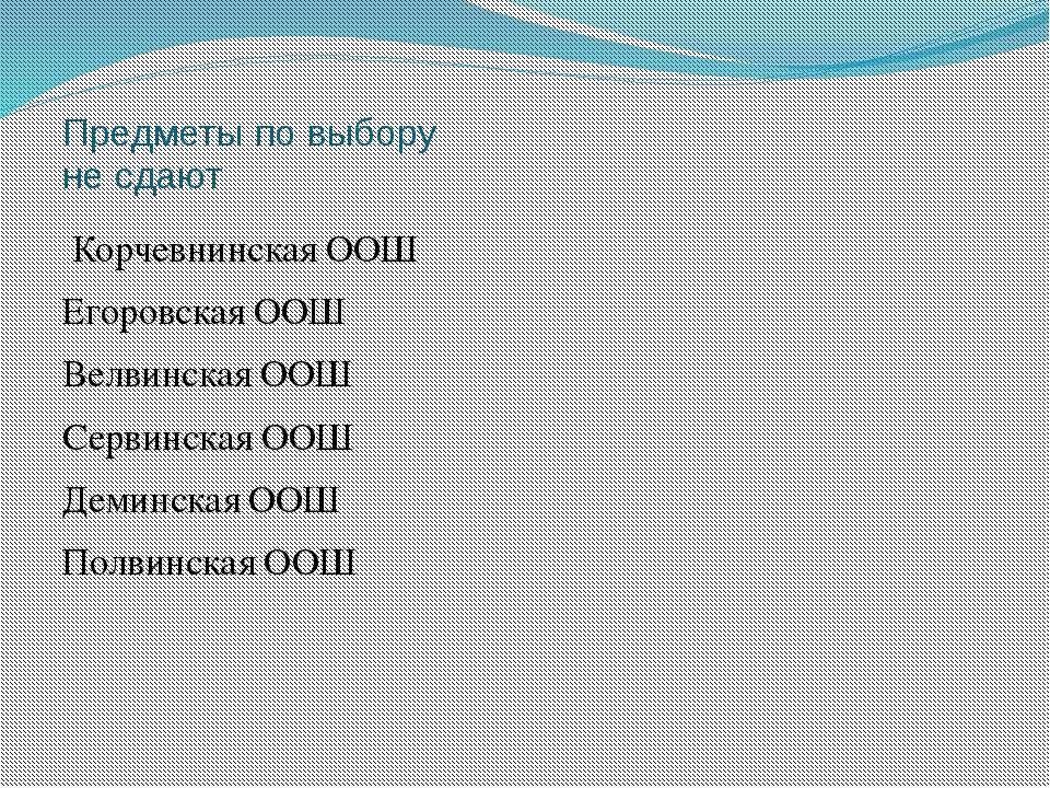 Предметы по выбору не сдают Корчевнинская ООШ Егоровская ООШ Велвинская ООШ С...