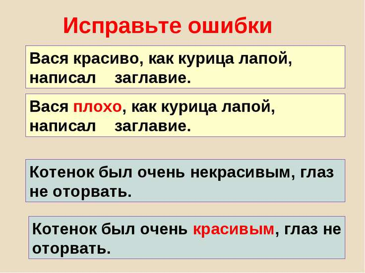 Исправьте ошибки Вася красиво, как курица лапой, написал заглавие. Вася плохо...