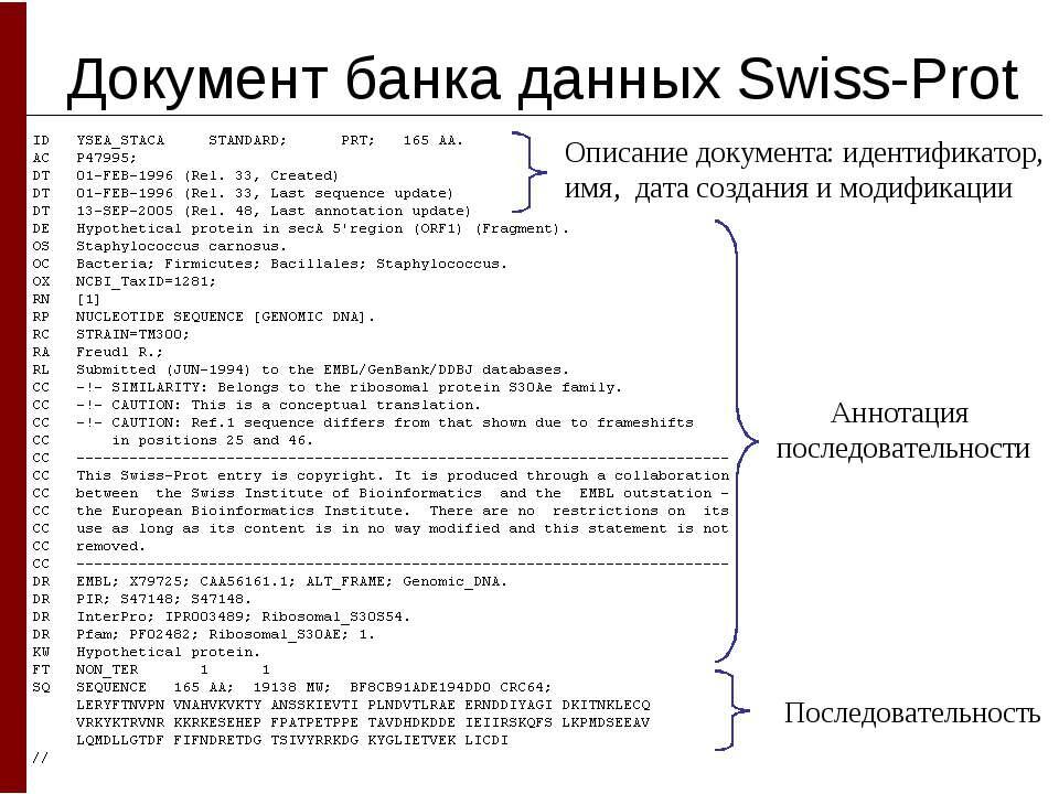 Документ банка данных Swiss-Prot Описание документа: идентификатор, имя, дата...