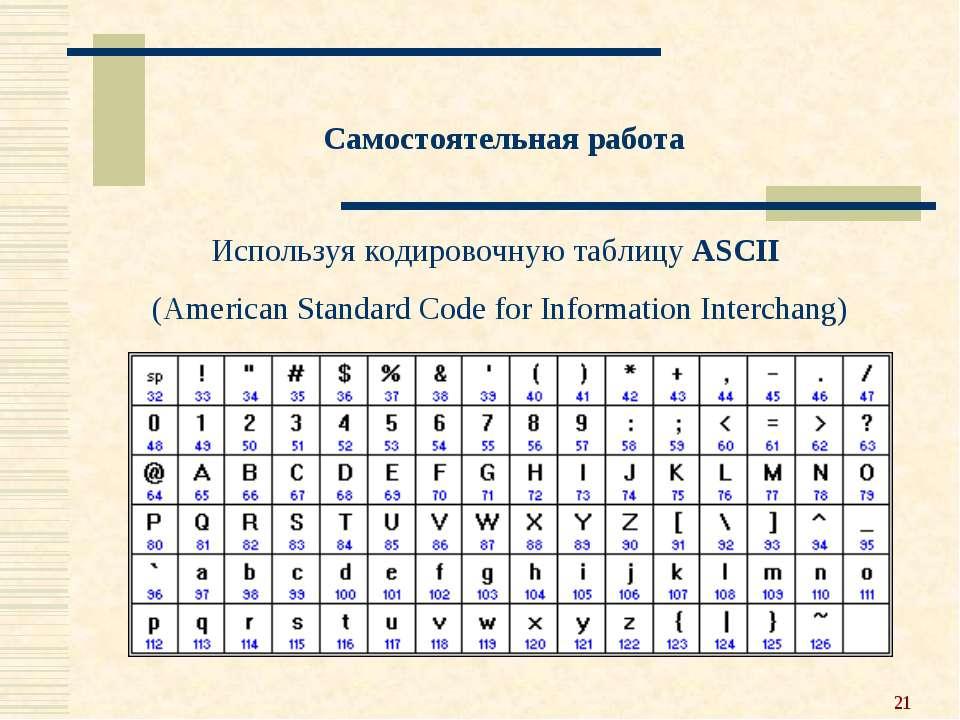 * Самостоятельная работа Используя кодировочную таблицу ASCII (American Stand...