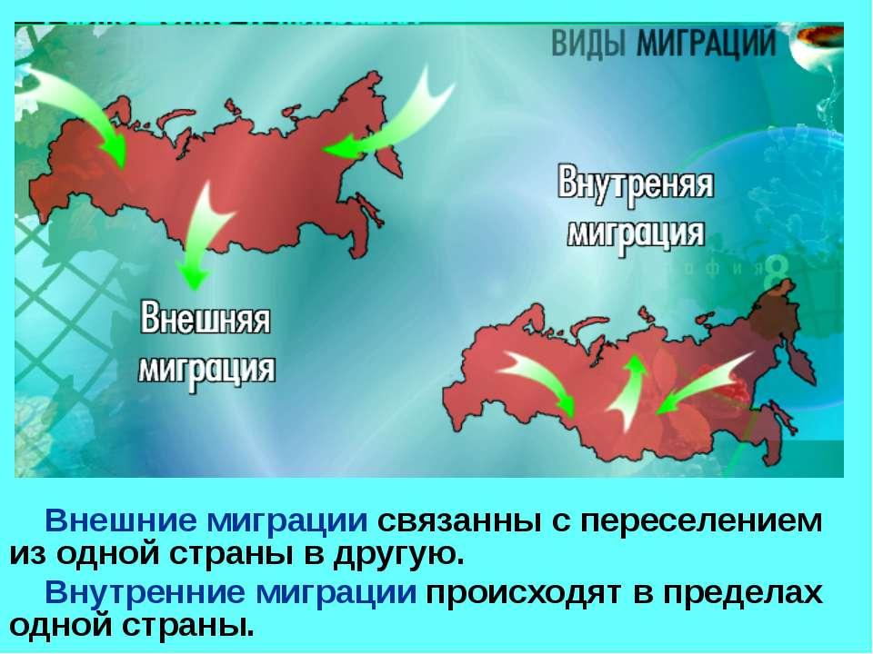 Внешние миграции связанны с переселением из одной страны в другую. Внутренние...