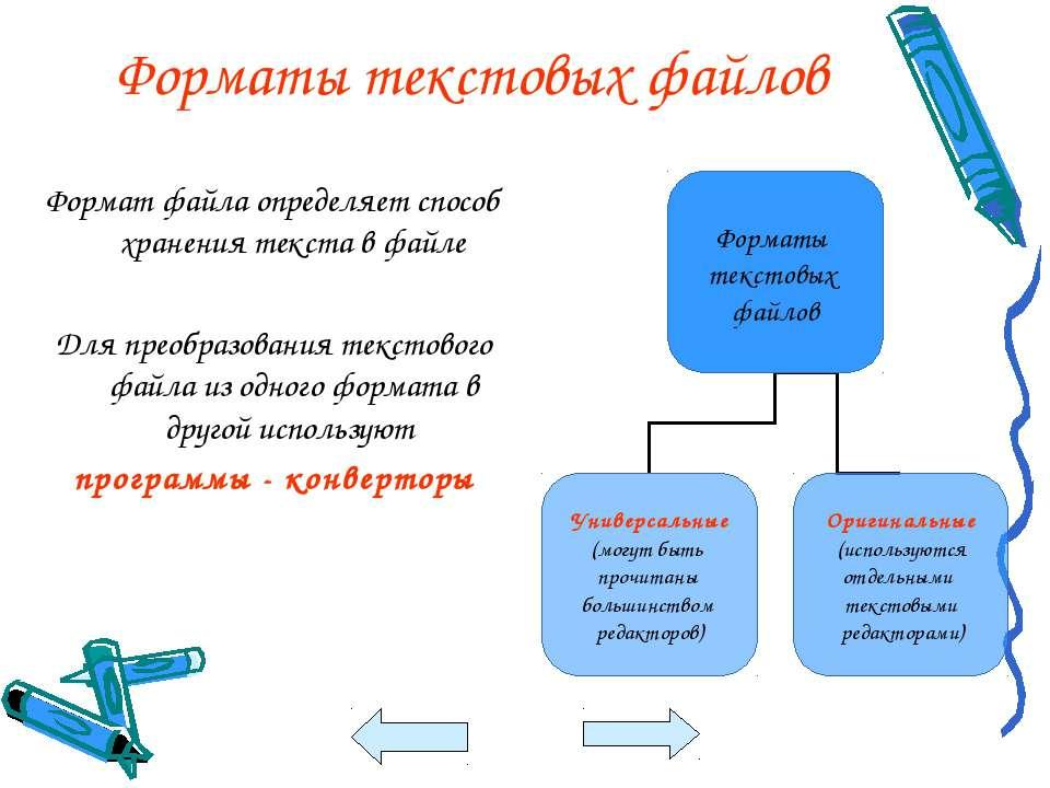 Форматы текстовых файлов Формат файла определяет способ хранения текста в фай...