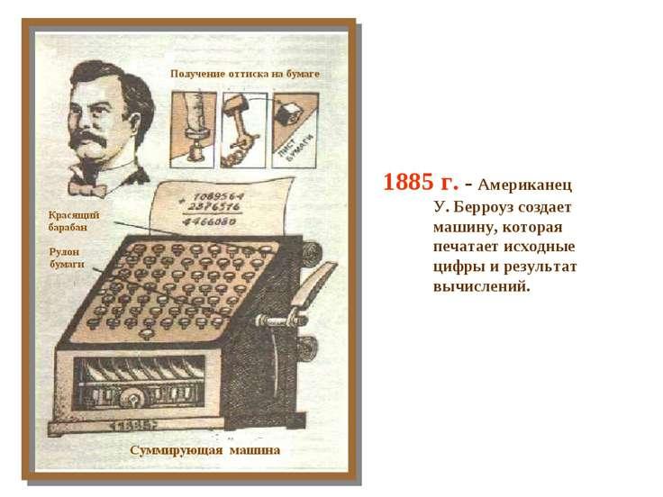 1885 г. - Американец У. Берроуз создает машину, которая печатает исходные циф...