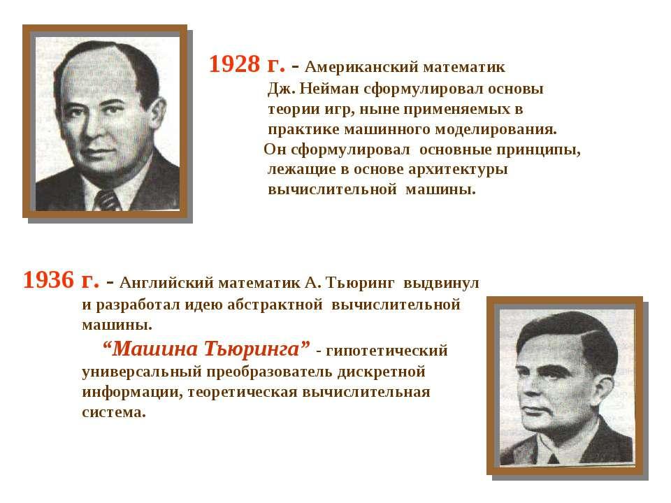 1928 г. - Американский математик Дж. Нейман сформулировал основы теории игр, ...