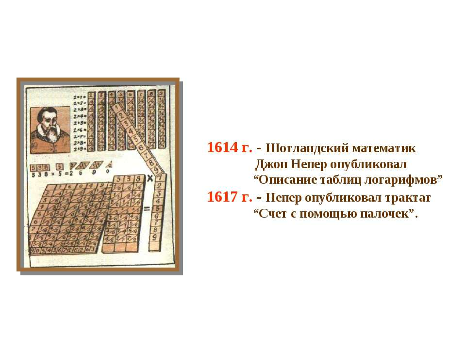 "1614 г. - Шотландский математик Джон Непер опубликовал ""Описание таблиц логар..."