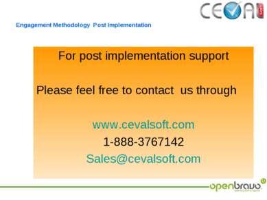 Engagement Methodology Post Implementation For post implementation support Pl...
