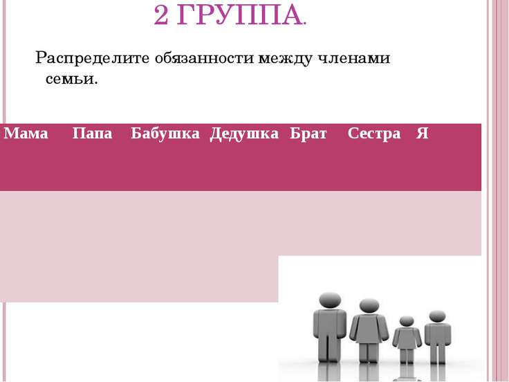 2 ГРУППА. Распределите обязанности между членами семьи. Мама Папа Бабушка Дед...