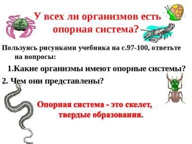 У всех ли организмов есть опорная система? Пользуясь рисунками учебника на с....