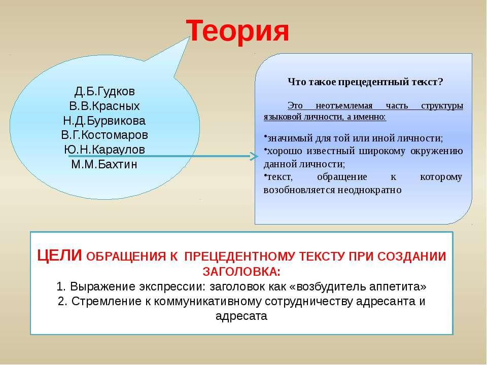 Теория Д.Б.Гудков В.В.Красных Н.Д.Бурвикова В.Г.Костомаров Ю.Н.Караулов М.М.Б...