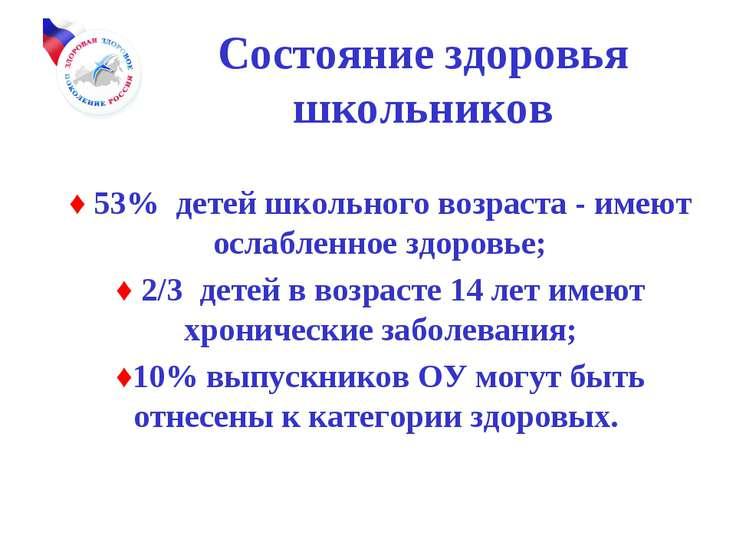 Состояние здоровья школьников ♦ 53% детей школьного возраста - имеют ослаблен...