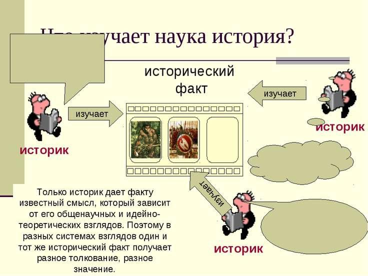 Что изучает наука история? изучает изучает изучает Только историк дает факту ...