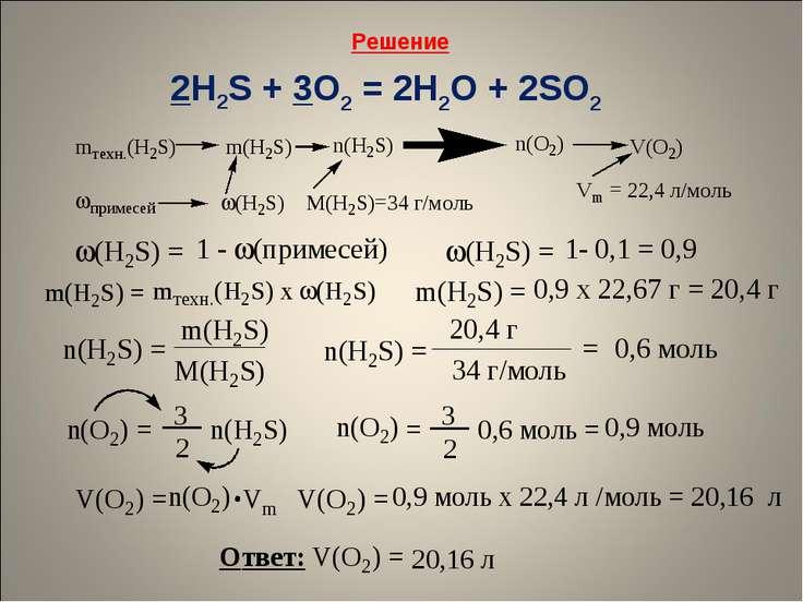 Решение 2H2S + 3O2 = 2H2O + 2SO2
