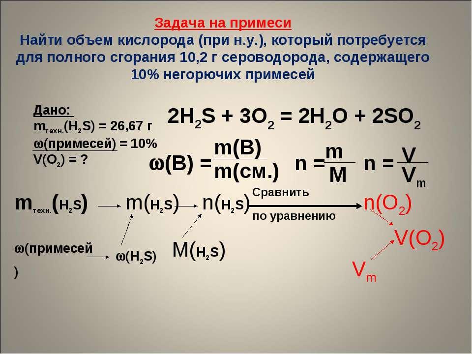 Задача на примеси Найти объем кислорода (при н.у.), который потребуется для п...