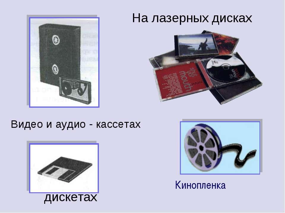 На лазерных дисках дискетах Видео и аудио - кассетах Кинопленка