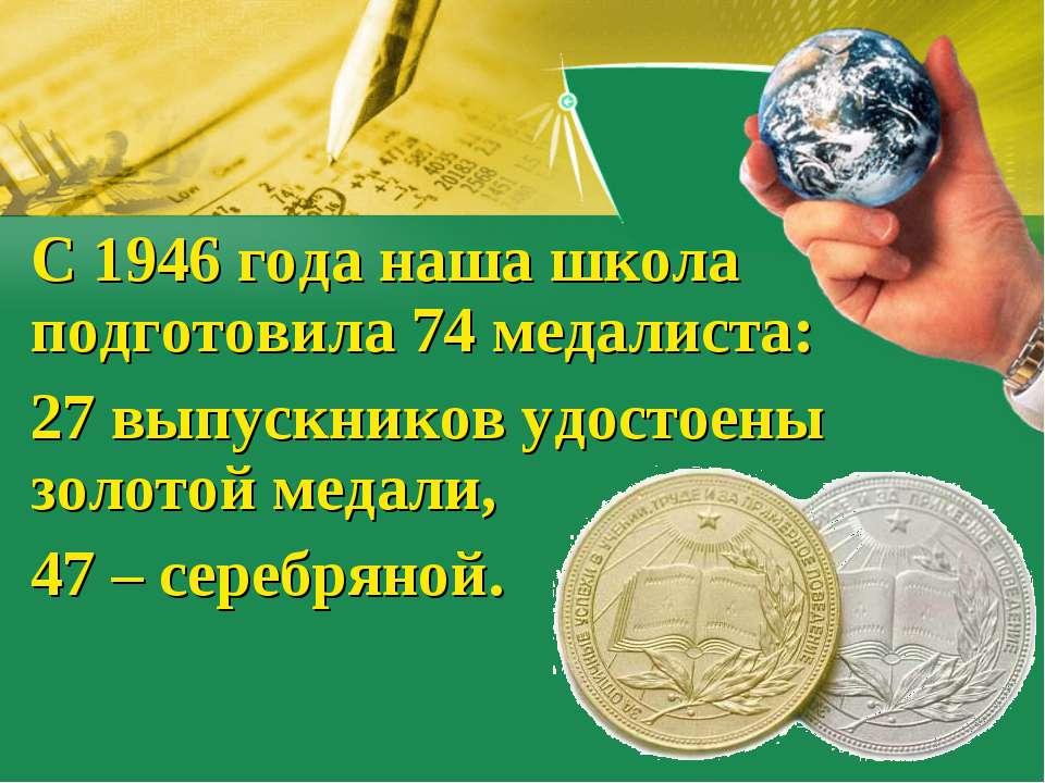 С 1946 года наша школа подготовила 74 медалиста: 27 выпускников удостоены зол...