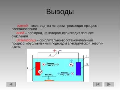 Выводы Катод – электрод, на котором происходит процесс восстановления. Анод –...