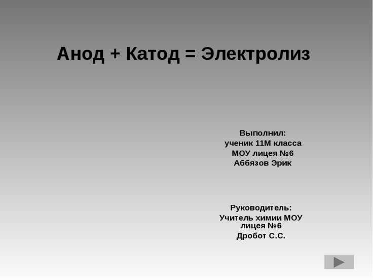 Анод + Катод = Электролиз Выполнил: ученик 11М класса МОУ лицея №6 Аббязов Эр...
