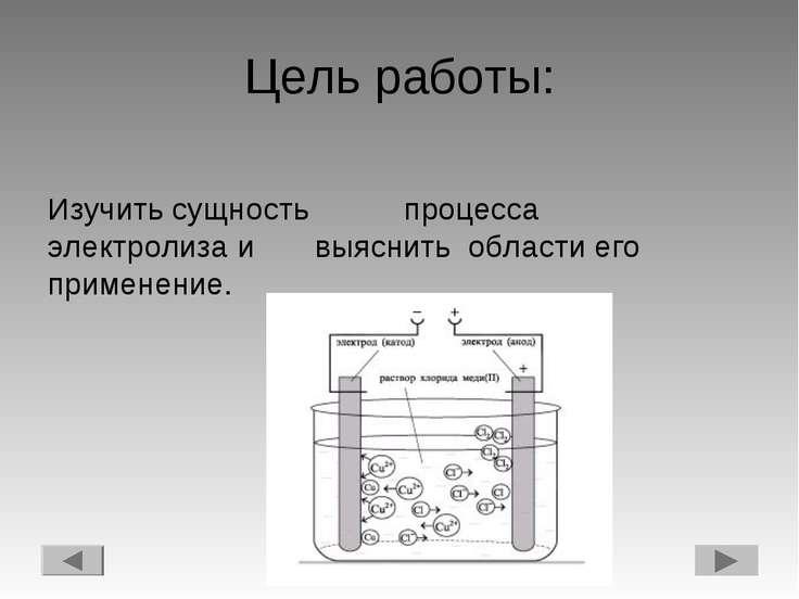 Цель работы: Изучить сущность процесса электролиза и выяснить области его при...
