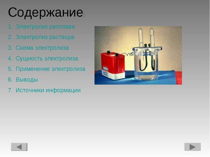 Содержание: Электролиз расплава Электролиз раствора Схема электролиза Сущност...