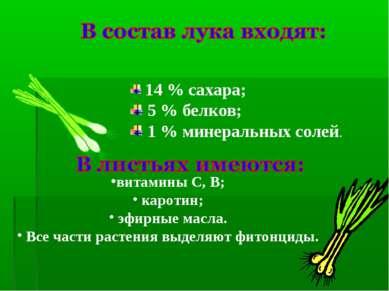 14 % сахара; 5 % белков; 1 % минеральных солей. витамины С, В; каротин; эфирн...