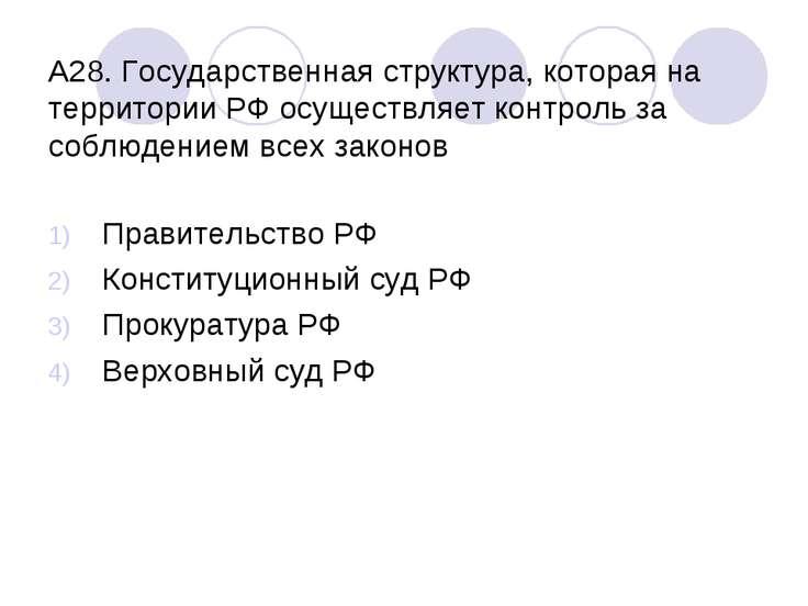 А28. Государственная структура, которая на территории РФ осуществляет контрол...