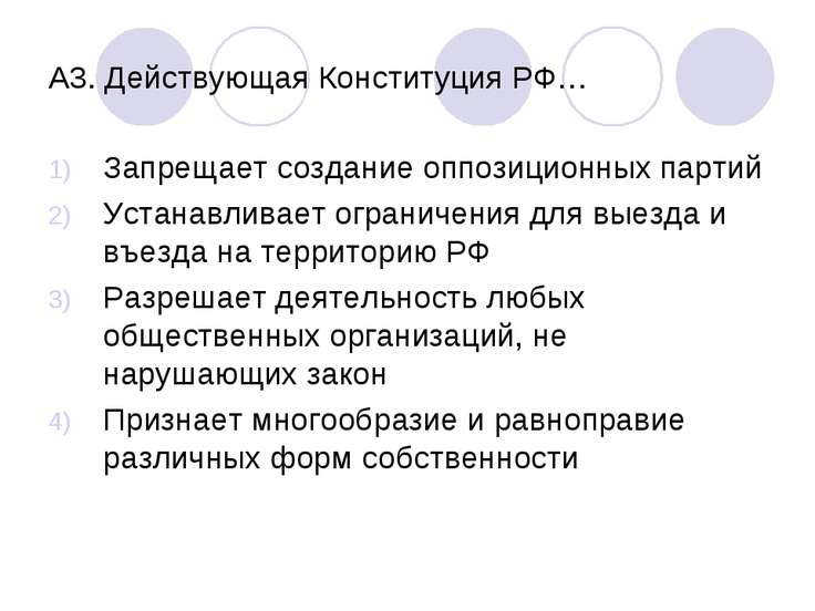 А3. Действующая Конституция РФ… Запрещает создание оппозиционных партий Устан...