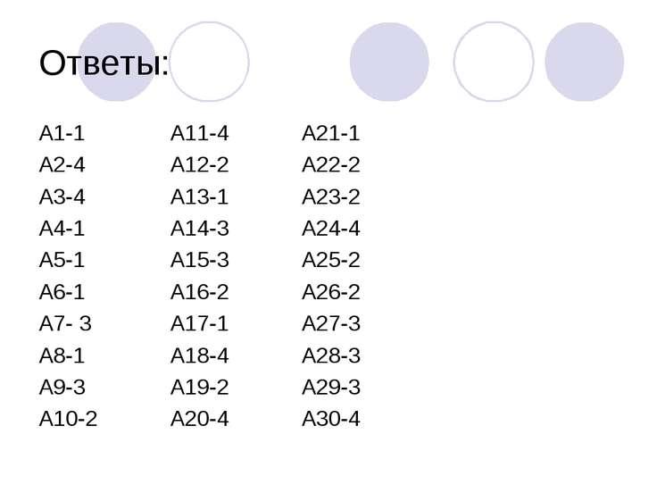 Ответы: А1-1 А11-4 А21-1 А2-4 А12-2 А22-2 А3-4 А13-1 А23-2 А4-1 А14-3 А24-4 А...