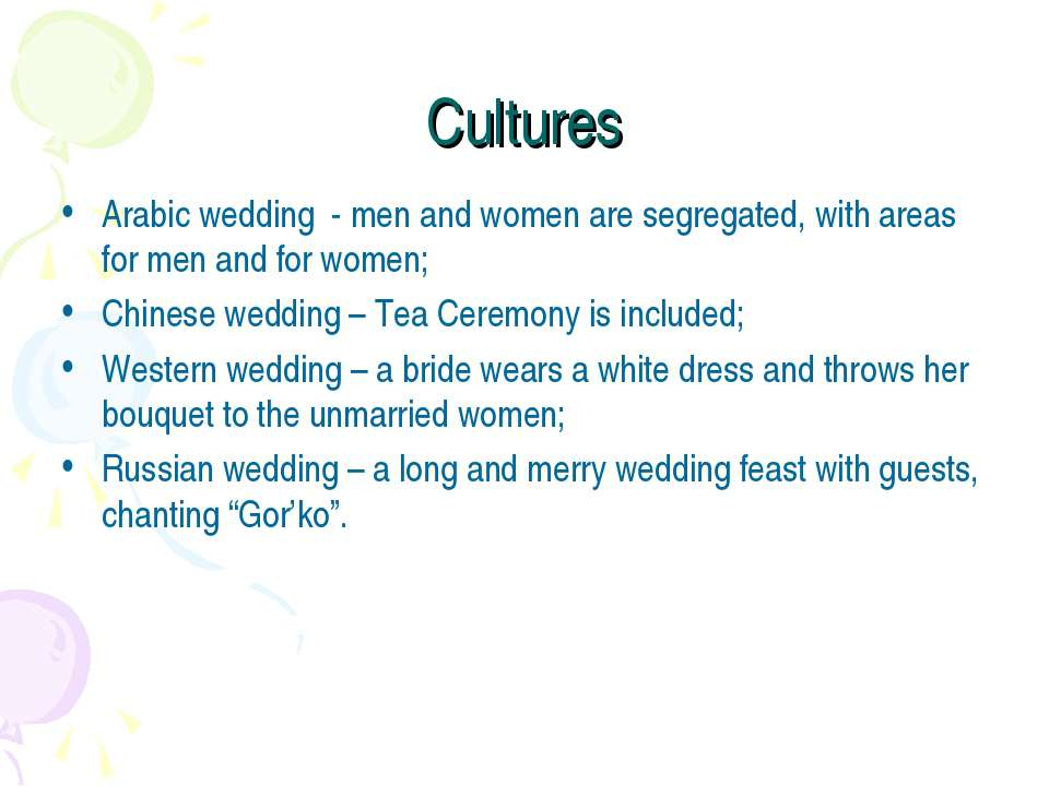 Cultures Arabic wedding - men and women are segregated, with areas for men an...