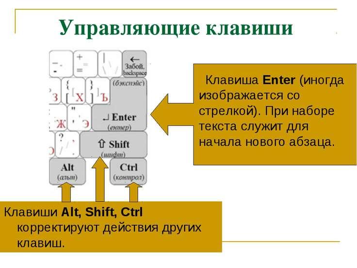 Управляющие клавиши Клавиши Alt, Shift, Ctrl корректируют действия других кла...