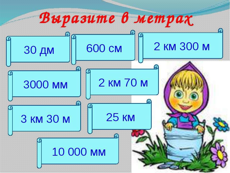 Выразите в метрах 30 дм 2 км 70 м 600 см 2 км 300 м 3000 мм 3 км 30 м 25 км 1...