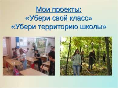 Мои проекты: «Убери свой класс» «Убери территорию школы»