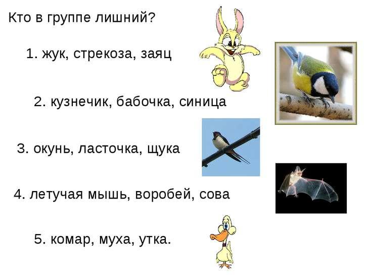 Кто в группе лишний? 5.комар, муха, утка. 1.жук, стрекоза, заяц 2.кузнечик...