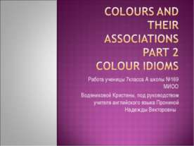 Colours and their Association Part 2 colour idioms