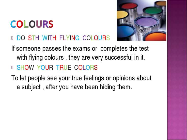 DO STH WITH FLYING COLOURS If someone passes the exams or completes the test ...